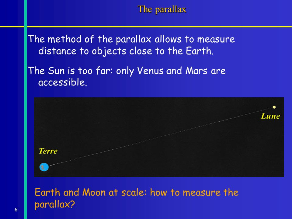 6 The parallax The method of the parallax allows to measure distance to objects close to the Earth.