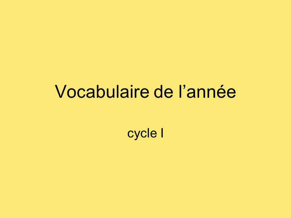 Vocabulaire de lannée cycle I