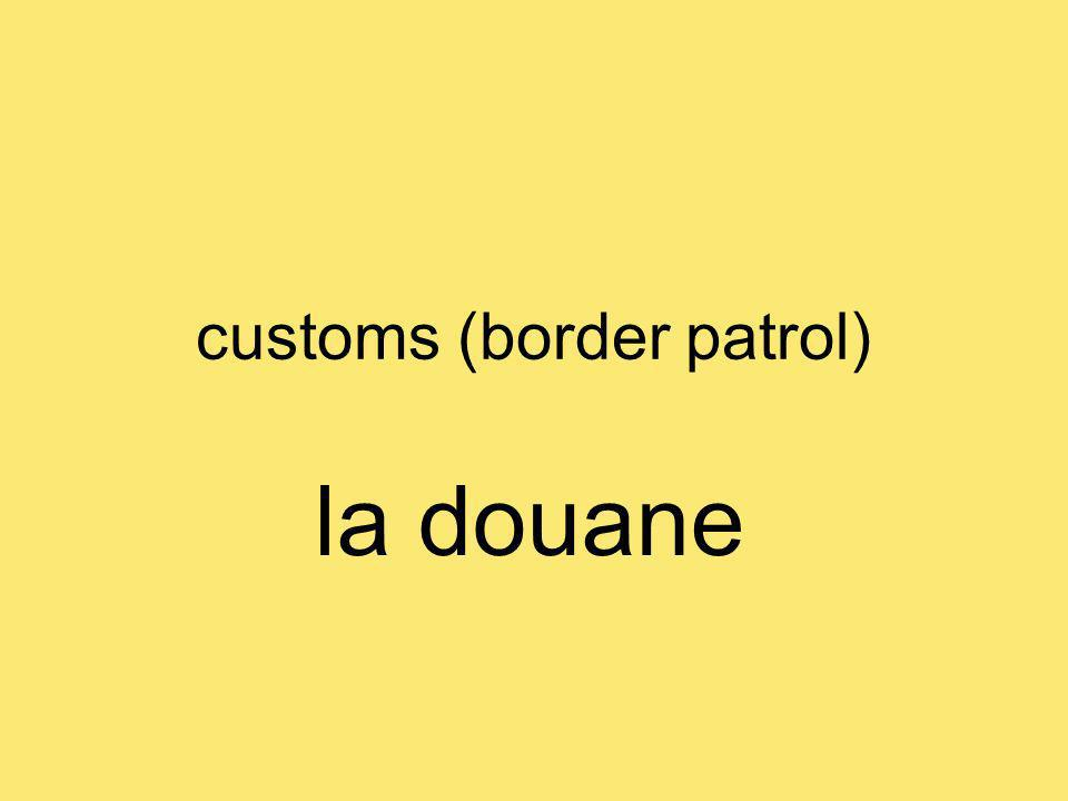 customs (border patrol) la douane