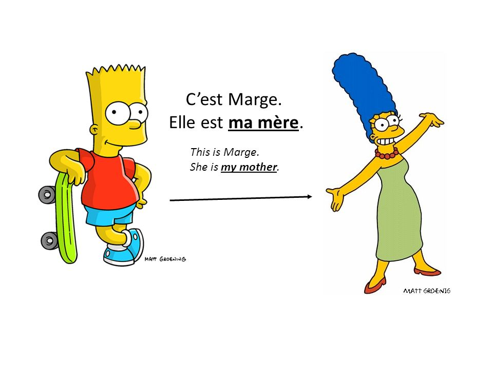 Cest Marge. Elle est ma mère. This is Marge. She is my mother.