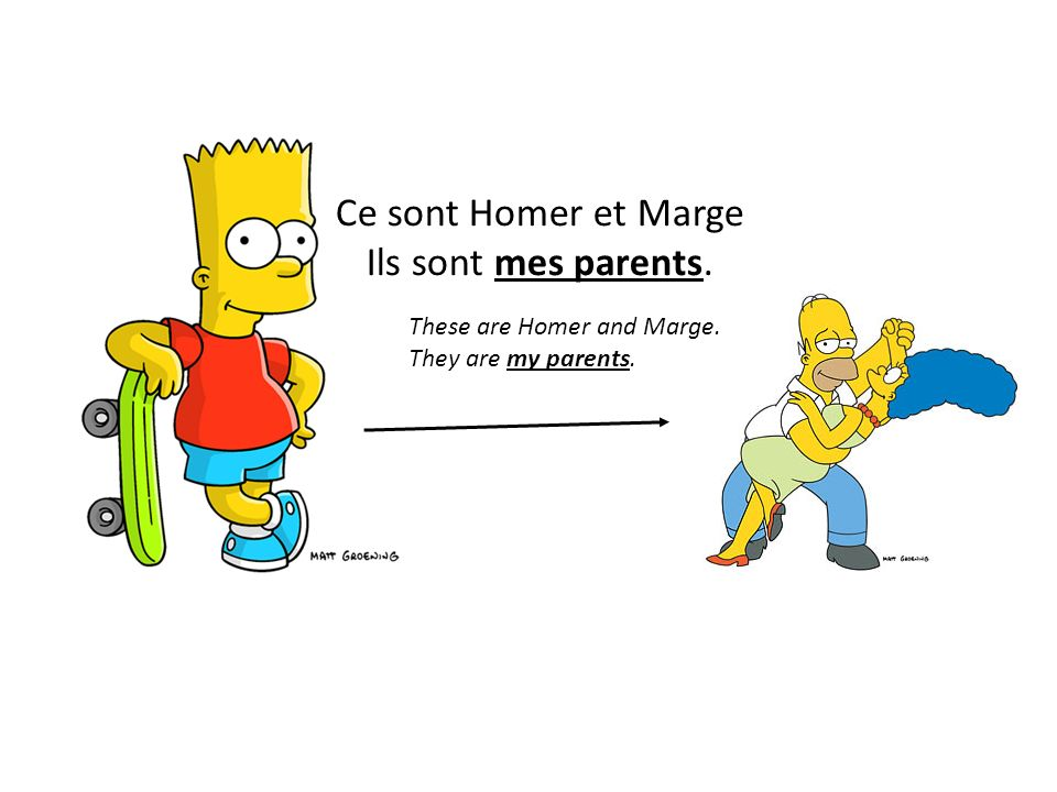 Ce sont Homer et Marge Ils sont mes parents. These are Homer and Marge. They are my parents.