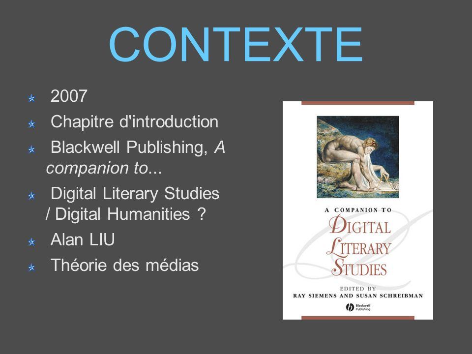 CONTEXTE 2007 Chapitre d introduction Blackwell Publishing, A companion to...