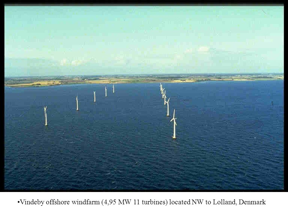 Vindeby offshore windfarm (4,95 MW 11 turbines) located NW to Lolland, Denmark