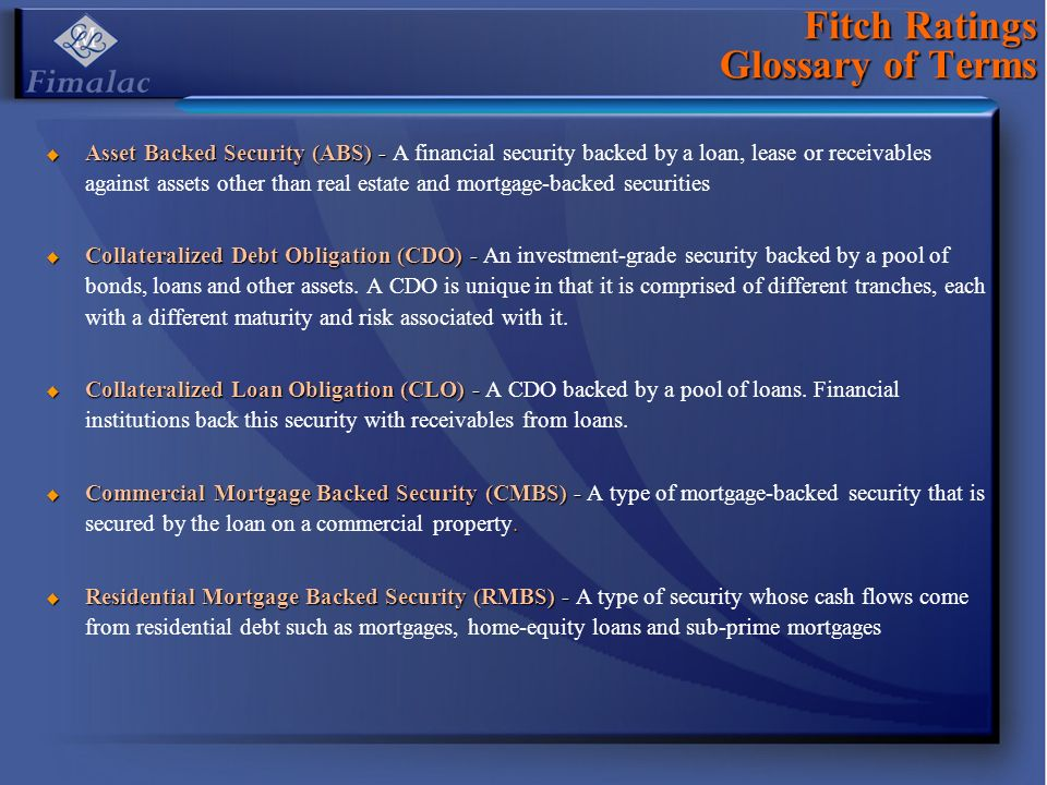Fitch Ratings Glossary of Terms Asset Backed Security (ABS) - Asset Backed Security (ABS) - A financial security backed by a loan, lease or receivables against assets other than real estate and mortgage-backed securities Collateralized Debt Obligation (CDO) - Collateralized Debt Obligation (CDO) - An investment-grade security backed by a pool of bonds, loans and other assets.