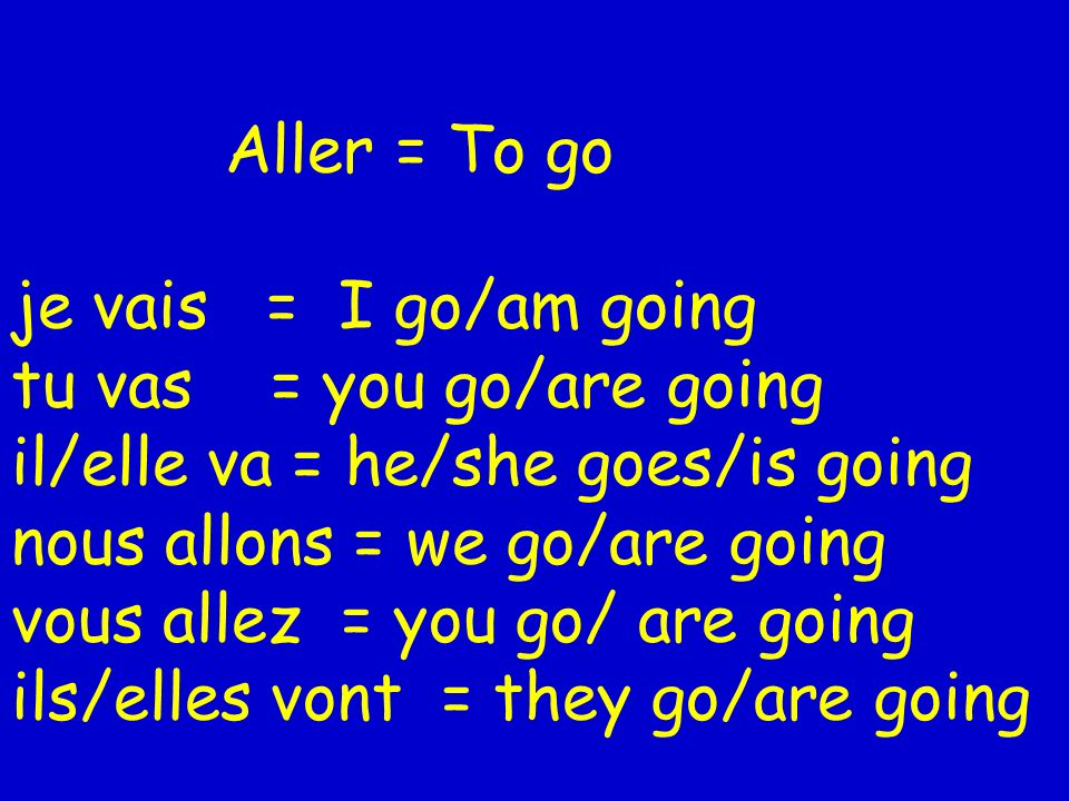 Aller = To go je vais = I go/am going tu vas = you go/are going il/elle va = he/she goes/is going nous allons = we go/are going vous allez = you go/ are going ils/elles vont = they go/are going