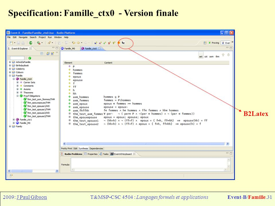 2009: J Paul GibsonT&MSP-CSC 4504 : Langages formels et applicationsEvent-B/Famille.31 Specification: Famille_ctx0 - Version finale B2Latex