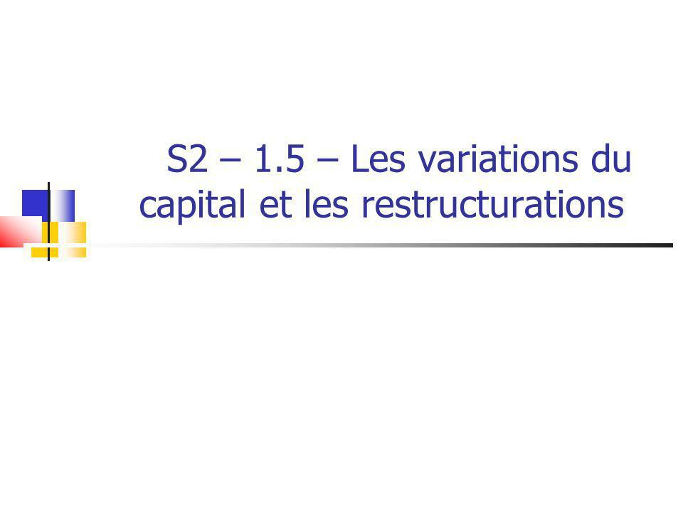 S2 – 1.5 – Les variations du capital et les restructurations