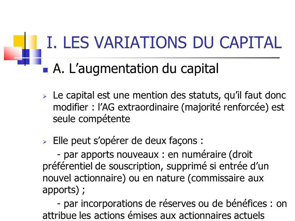 I. LES VARIATIONS DU CAPITAL A.