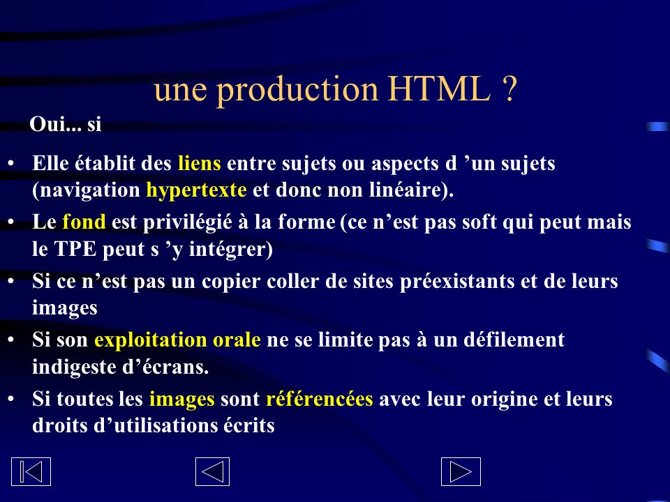 une production HTML .
