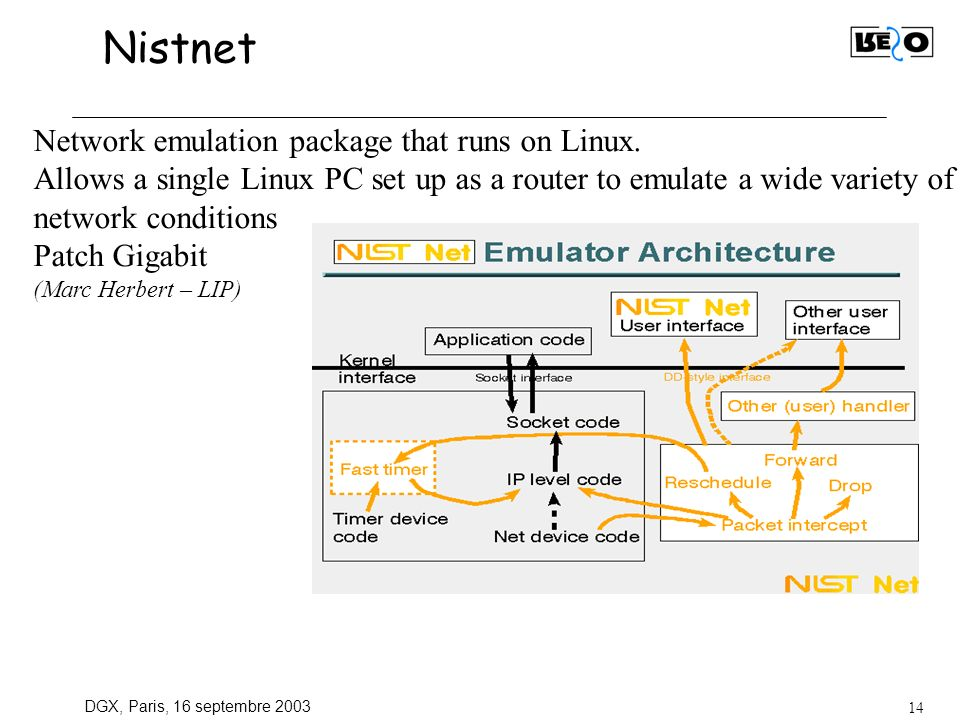 DGX, Paris, 16 septembre Nistnet Network emulation package that runs on Linux.
