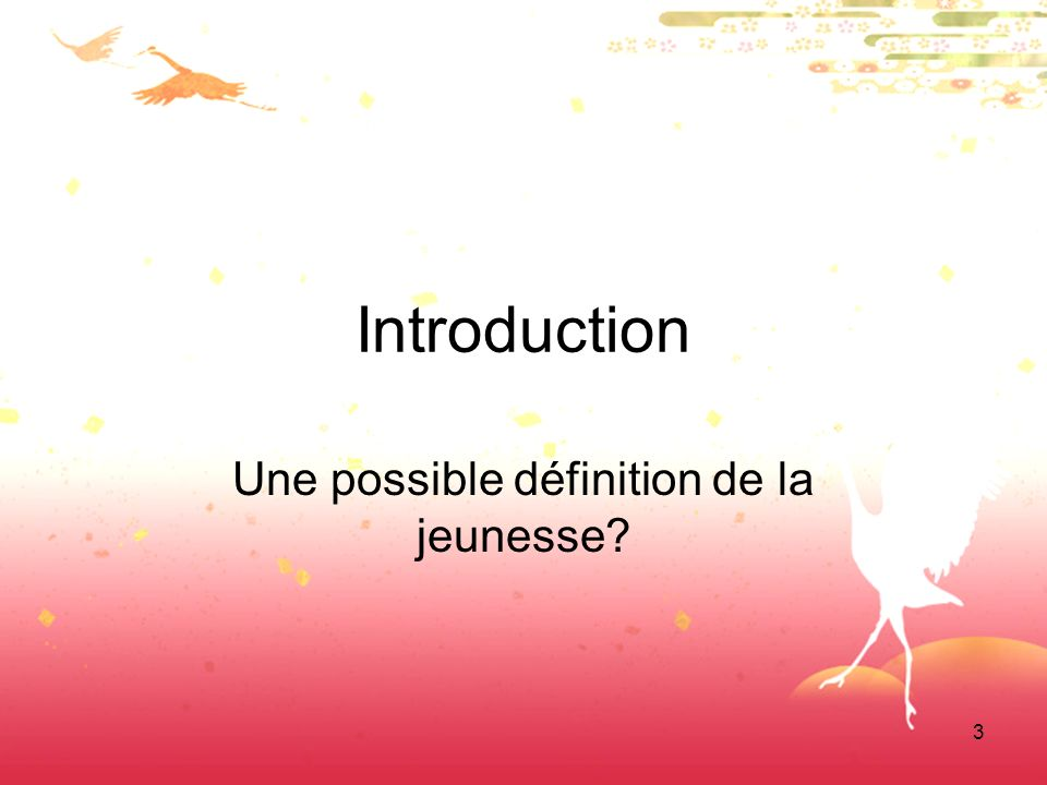 3 Introduction Une possible définition de la jeunesse