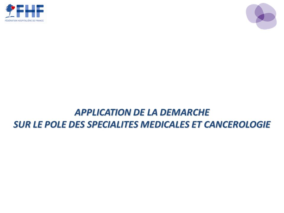 APPLICATION DE LA DEMARCHE SUR LE POLE DES SPECIALITES MEDICALES ET CANCEROLOGIE