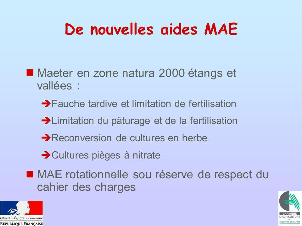 De nouvelles aides MAE Maeter en zone natura 2000 étangs et vallées : Fauche tardive et limitation de fertilisation Limitation du pâturage et de la fertilisation Reconversion de cultures en herbe Cultures pièges à nitrate MAE rotationnelle sou réserve de respect du cahier des charges