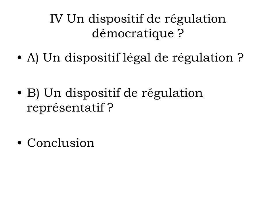 IV Un dispositif de régulation démocratique . A) Un dispositif légal de régulation .
