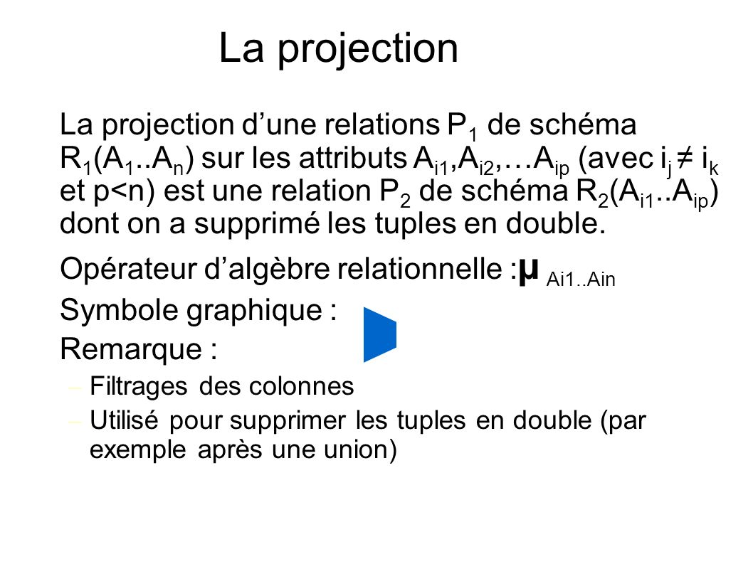 La projection La projection dune relations P 1 de schéma R 1 (A 1..A n ) sur les attributs A i1,A i2,…A ip (avec i j i k et p<n) est une relation P 2 de schéma R 2 (A i1..A ip ) dont on a supprimé les tuples en double.