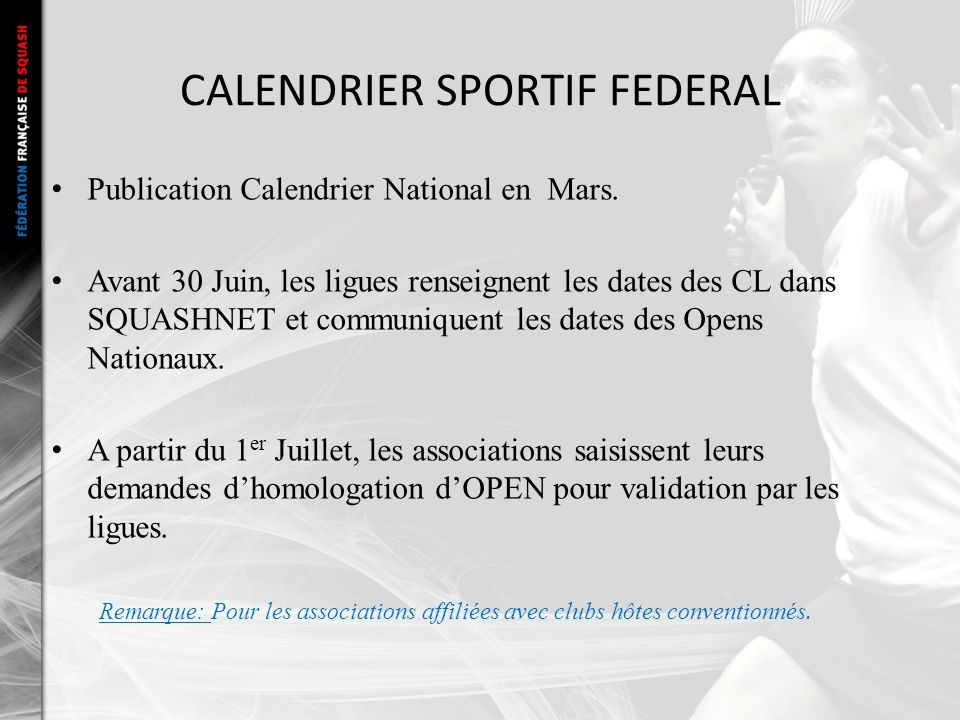 CALENDRIER SPORTIF FEDERAL Publication Calendrier National en Mars.