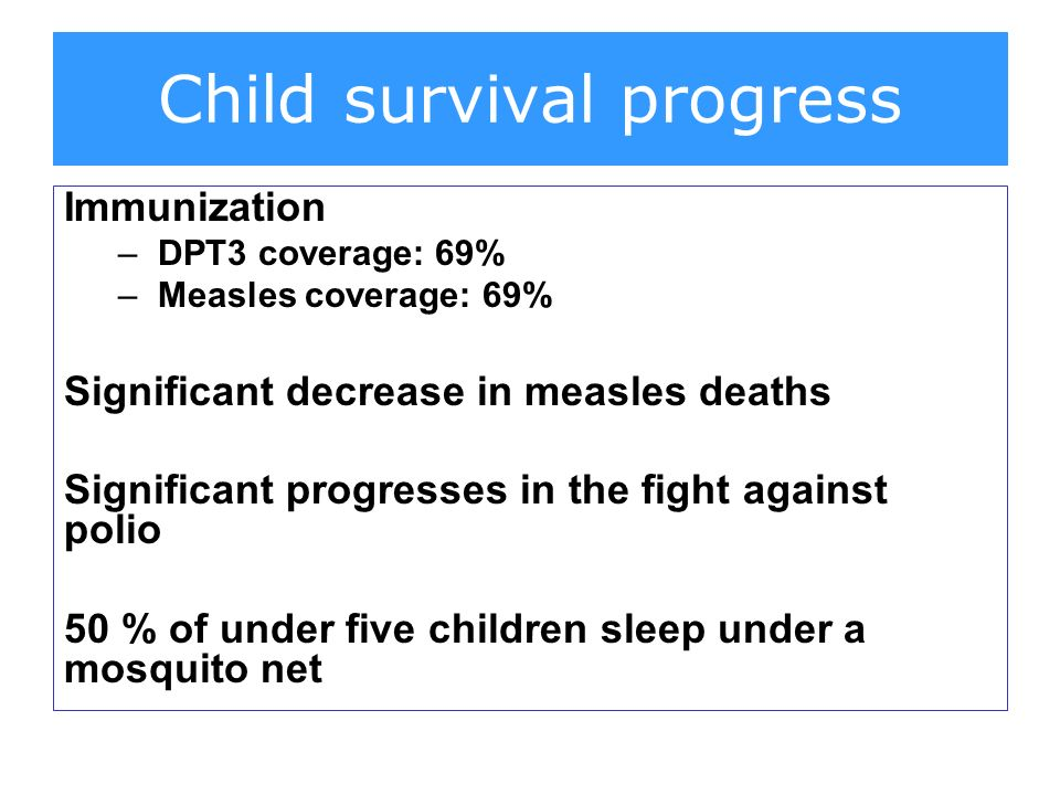 Immunization –DPT3 coverage: 69% –Measles coverage: 69% Significant decrease in measles deaths Significant progresses in the fight against polio 50 % of under five children sleep under a mosquito net Child survival progress