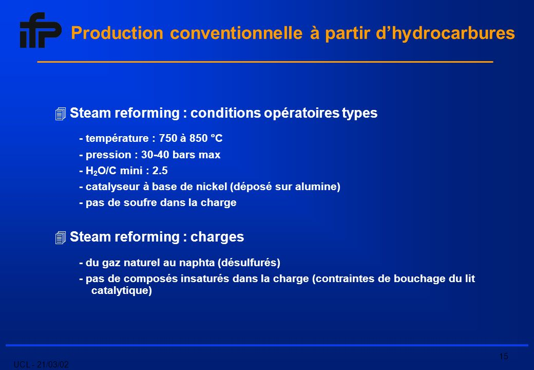UCL - 21/03/02 15 Steam reforming : conditions opératoires types - température : 750 à 850 °C - pression : bars max - H 2 O/C mini : catalyseur à base de nickel (déposé sur alumine) - pas de soufre dans la charge Steam reforming : charges - du gaz naturel au naphta (désulfurés) - pas de composés insaturés dans la charge (contraintes de bouchage du lit catalytique) Production conventionnelle à partir dhydrocarbures