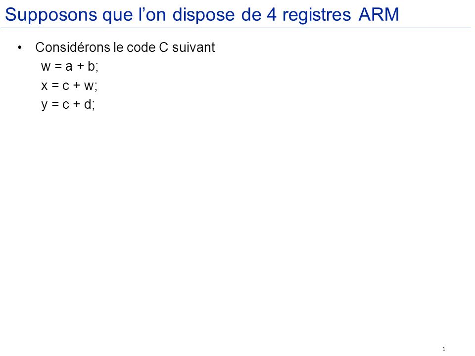 1 Supposons que lon dispose de 4 registres ARM Considérons le code C suivant w = a + b; x = c + w; y = c + d;