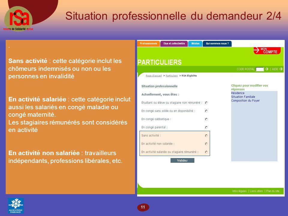 11 Situation professionnelle du demandeur 2/4.