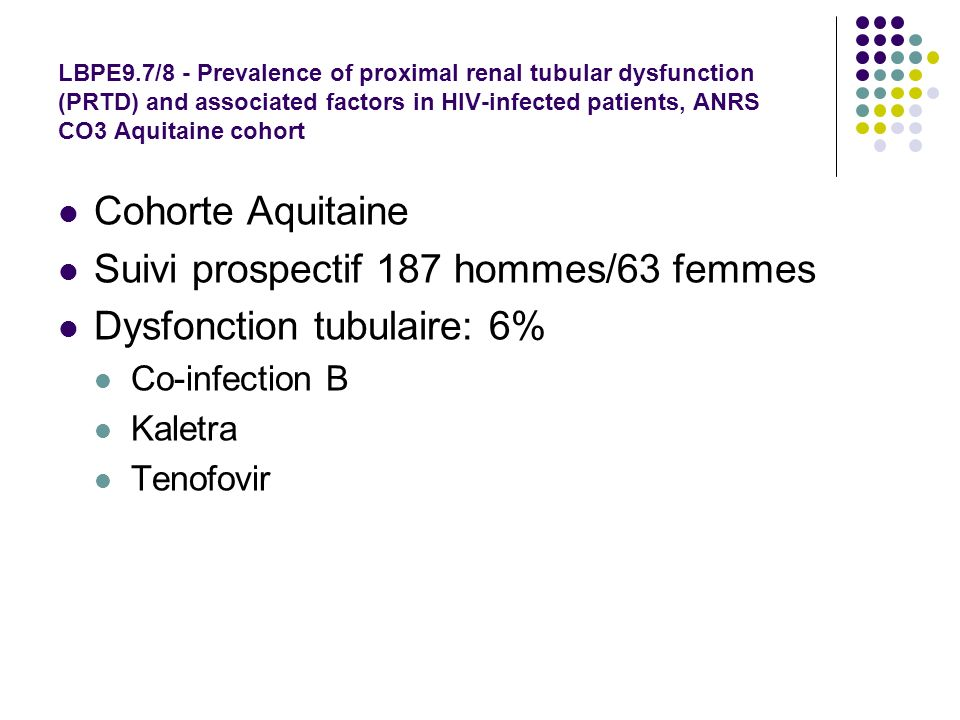 LBPE9.7/8 - Prevalence of proximal renal tubular dysfunction (PRTD) and associated factors in HIV-infected patients, ANRS CO3 Aquitaine cohort Cohorte Aquitaine Suivi prospectif 187 hommes/63 femmes Dysfonction tubulaire: 6% Co-infection B Kaletra Tenofovir