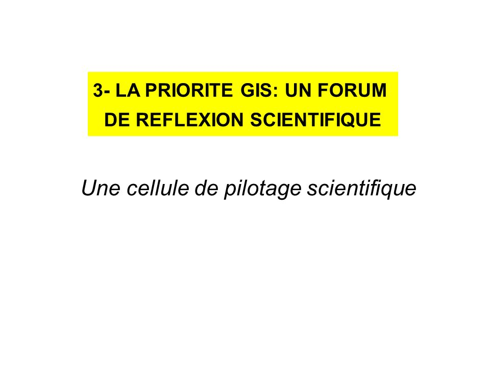 3- LA PRIORITE GIS: UN FORUM DE REFLEXION SCIENTIFIQUE Une cellule de pilotage scientifique