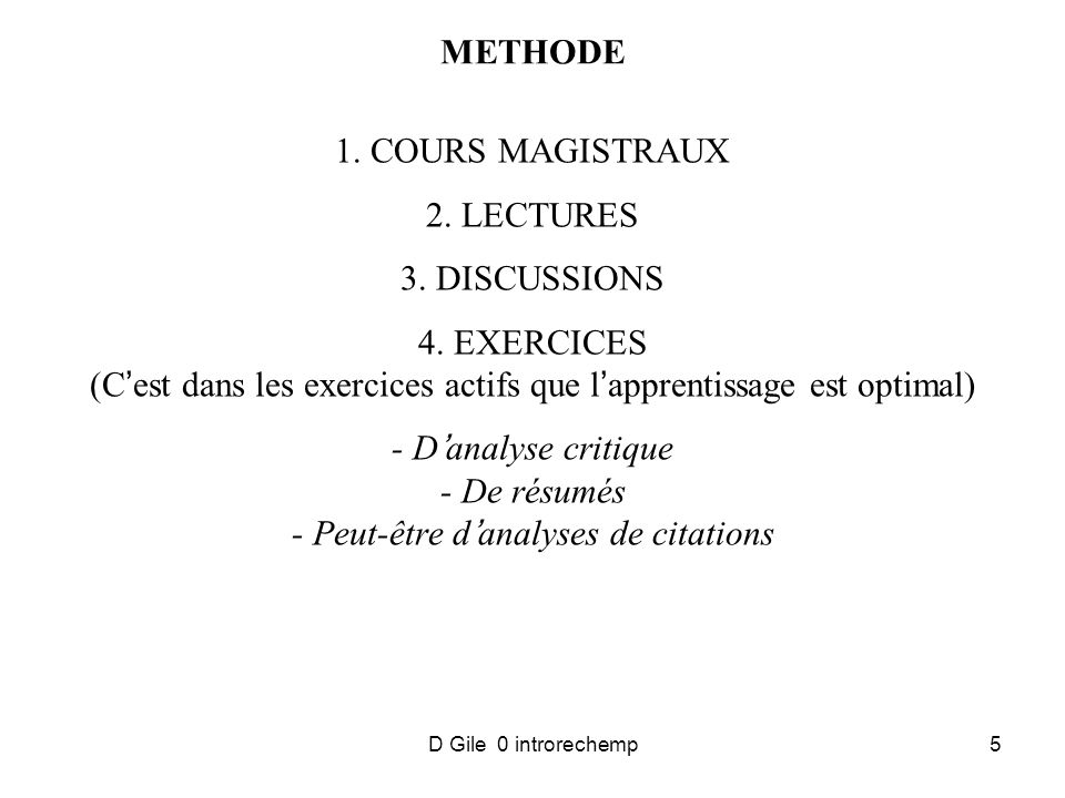 D Gile 0 introrechemp5 METHODE 1. COURS MAGISTRAUX 2.