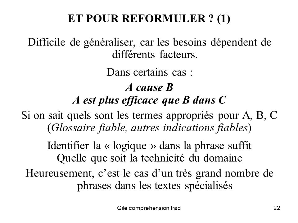 Gile comprehension trad22 ET POUR REFORMULER .