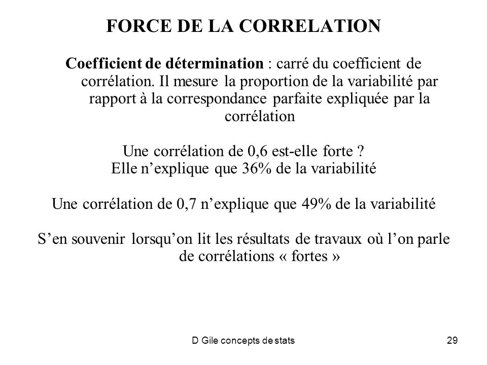 D Gile concepts de stats29 FORCE DE LA CORRELATION Coefficient de détermination : carré du coefficient de corrélation.