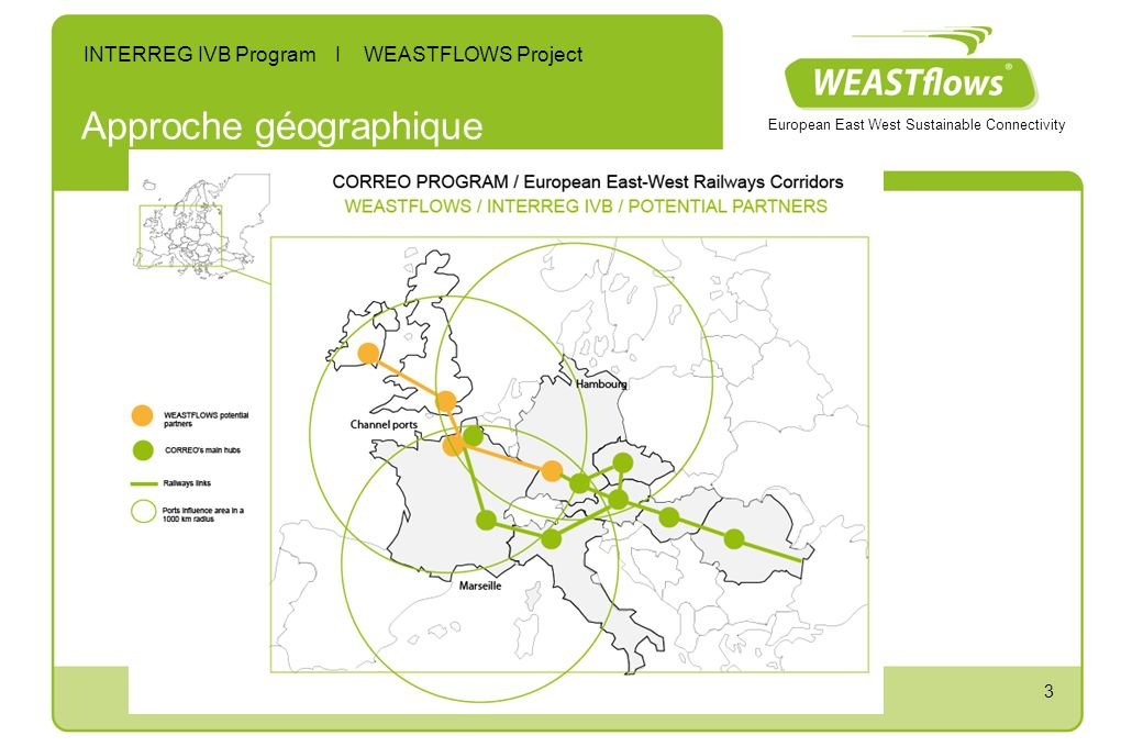 3 Approche géographique European East West Sustainable Connectivity INTERREG IVB Program I WEASTFLOWS Project