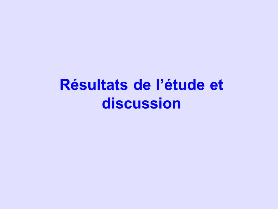 Résultats de létude et discussion