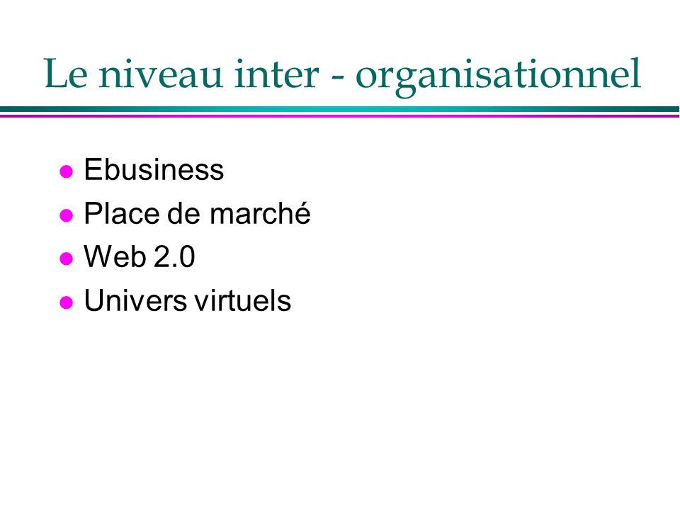 Le niveau inter - organisationnel l Ebusiness l Place de marché l Web 2.0 l Univers virtuels