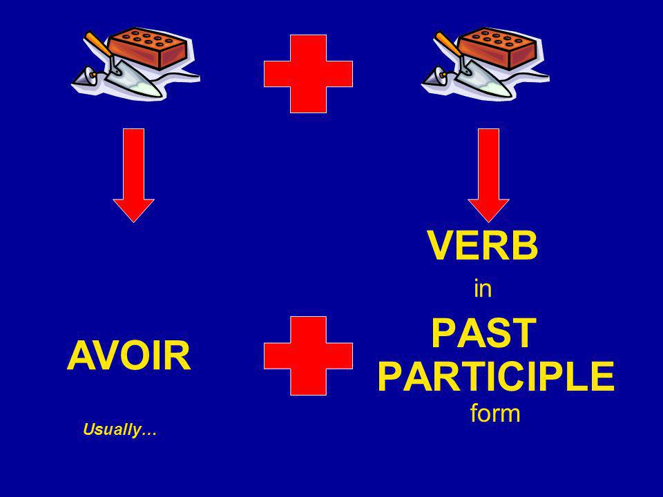 VERB in PAST PARTICIPLE form AVOIR Usually…