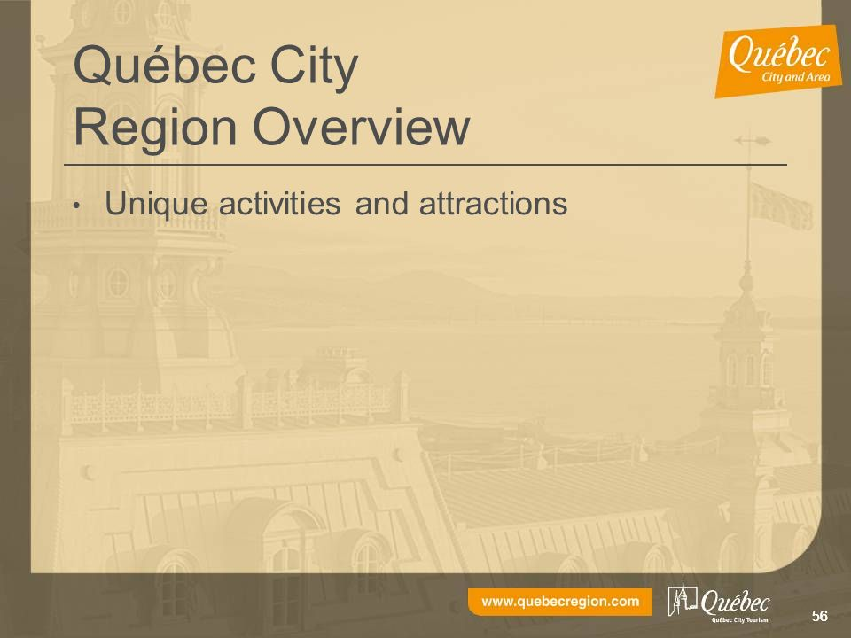 56 Québec City Region Overview Unique activities and attractions
