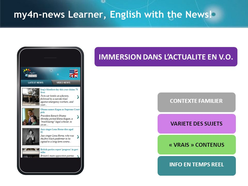 my4n-news Learner, English with the News. CONTEXTE FAMILIER IMMERSION DANS LACTUALITE EN V.O.