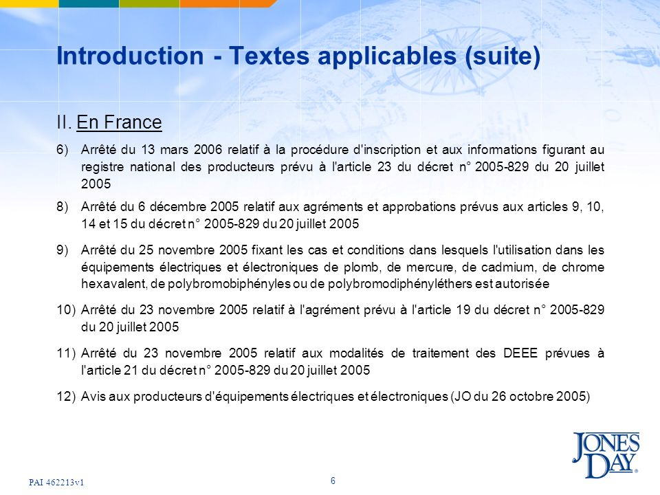 PAI v1 6 Introduction - Textes applicables (suite) II.