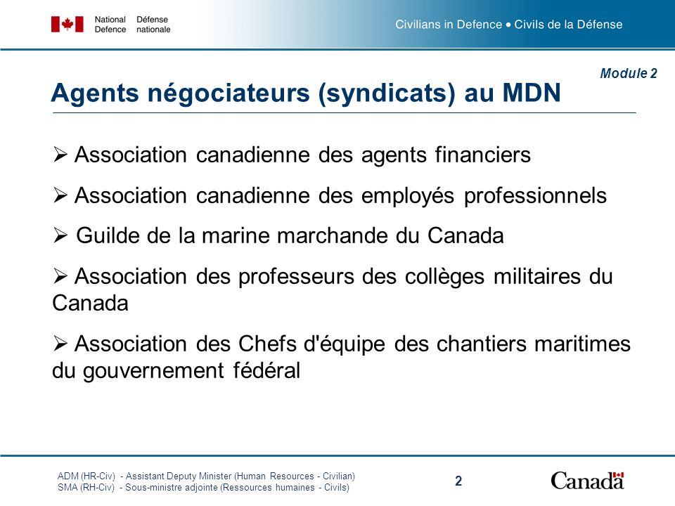 ADM (HR-Civ) - Assistant Deputy Minister (Human Resources - Civilian) SMA (RH-Civ) - Sous-ministre adjointe (Ressources humaines - Civils) 2 Association canadienne des agents financiers Association canadienne des employés professionnels Guilde de la marine marchande du Canada Association des professeurs des collèges militaires du Canada Association des Chefs d équipe des chantiers maritimes du gouvernement fédéral Module 2 Agents négociateurs (syndicats) au MDN
