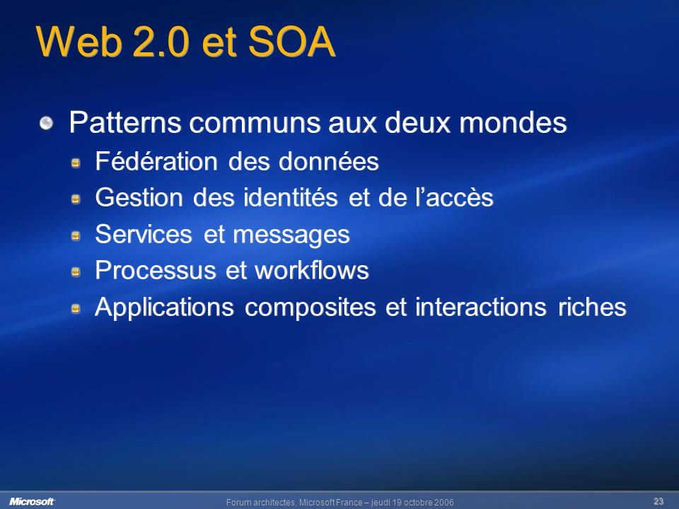 Forum architectes, Microsoft France – jeudi 19 octobre Web 2.0 et SOA Patterns communs aux deux mondes Fédération des données Gestion des identités et de laccès Services et messages Processus et workflows Applications composites et interactions riches Patterns communs aux deux mondes Fédération des données Gestion des identités et de laccès Services et messages Processus et workflows Applications composites et interactions riches