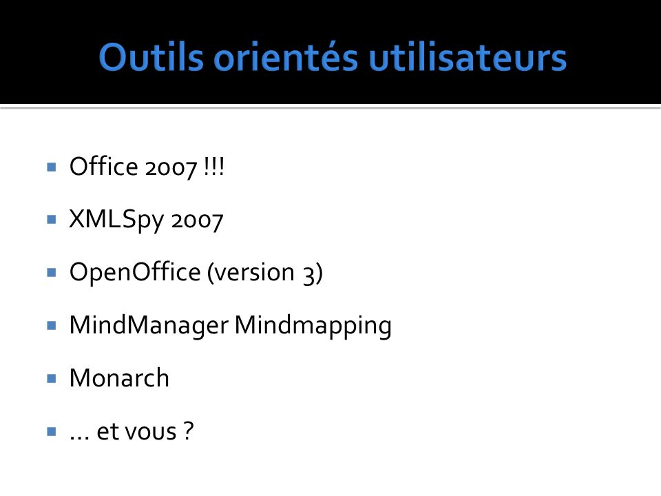 Office 2007 !!! XMLSpy 2007 OpenOffice (version 3) MindManager Mindmapping Monarch … et vous