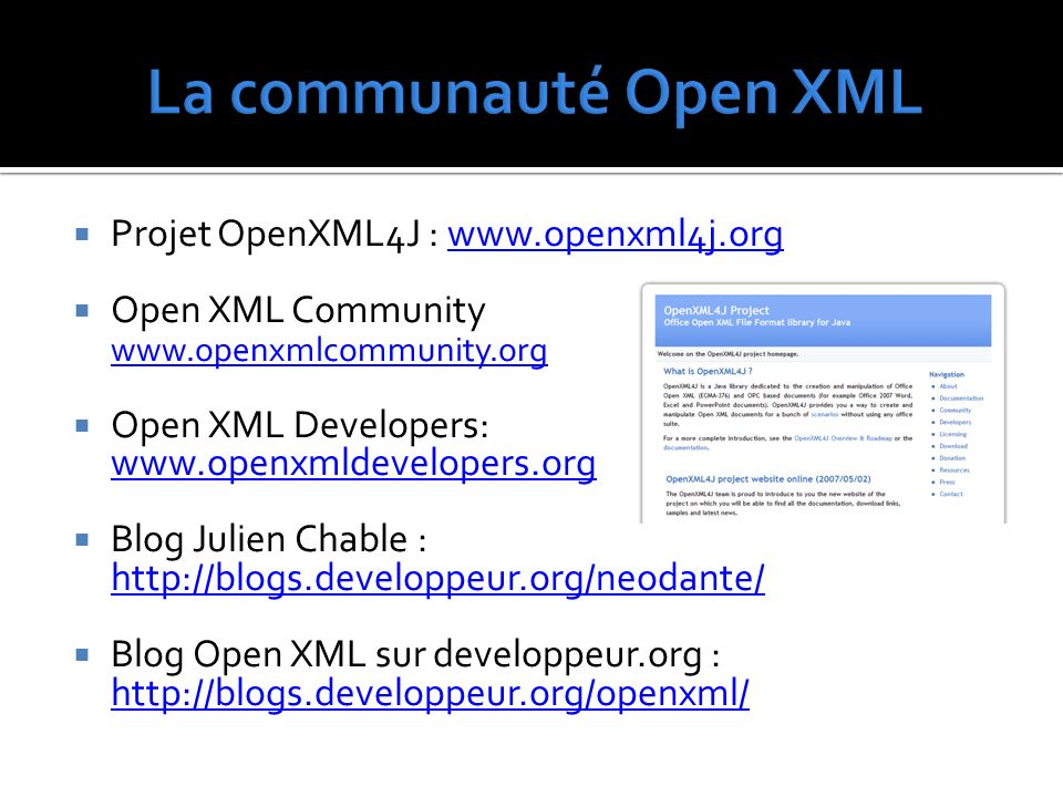Projet OpenXML4J : www.openxml4j.orgwww.openxml4j.org Open XML Community www.openxmlcommunity.org www.openxmlcommunity.org Open XML Developers: www.openxmldevelopers.org www.openxmldevelopers.org Blog Julien Chable : http://blogs.developpeur.org/neodante/ http://blogs.developpeur.org/neodante/ Blog Open XML sur developpeur.org : http://blogs.developpeur.org/openxml/ http://blogs.developpeur.org/openxml/