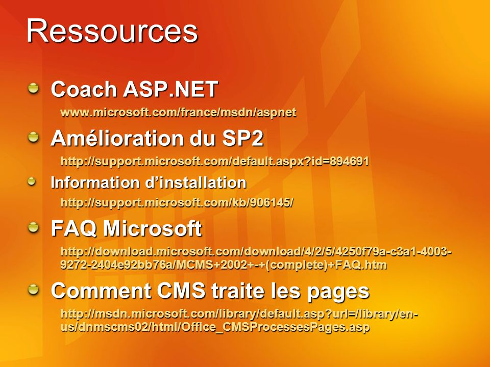 Ressources Coach ASP.NET   Amélioration du SP2   id= Information dinstallation   FAQ Microsoft e92bb76a/MCMS (complete)+FAQ.htm Comment CMS traite les pages   url=/library/en- us/dnmscms02/html/Office_CMSProcessesPages.asp
