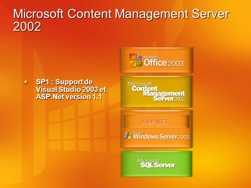 Microsoft Content Management Server 2002 ASP.NET SP1 : Support de Visual Studio 2003 et ASP.Net version 1.1