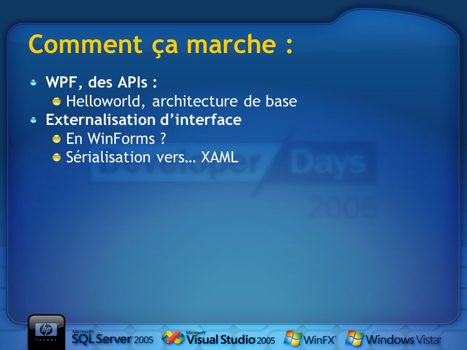 Comment ça marche : WPF, des APIs : Helloworld, architecture de base Externalisation dinterface En WinForms .