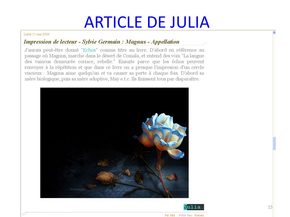 ARTICLE DE JULIA 15