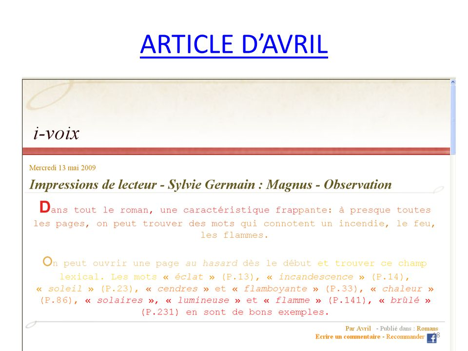 ARTICLE DAVRIL 18