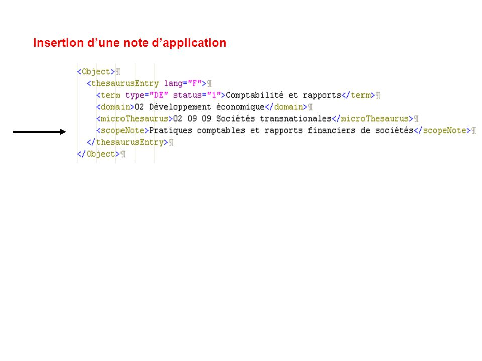 Insertion dune note dapplication
