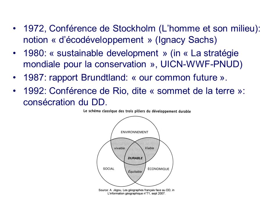 1972, Conférence de Stockholm (Lhomme et son milieu): notion « décodéveloppement » (Ignacy Sachs) 1980: « sustainable development » (in « La stratégie mondiale pour la conservation », UICN-WWF-PNUD) 1987: rapport Brundtland: « our common future ».