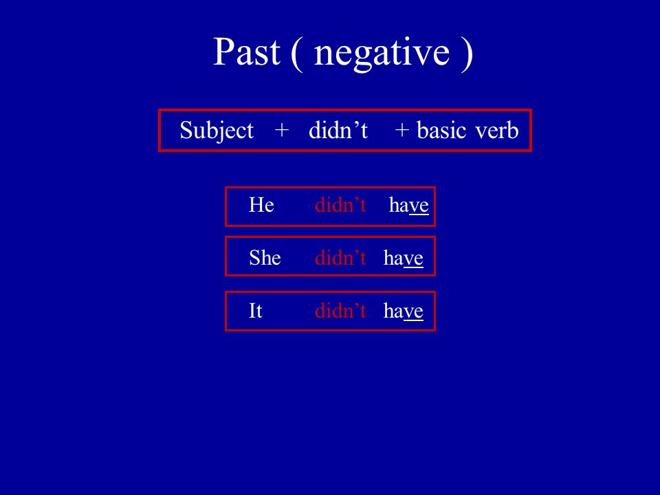 Past ( negative ) Subject + didnt + basic verb He didnt have She didnt have It didnt have