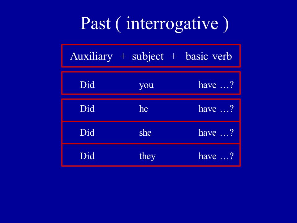 Past ( interrogative ) Auxiliary + subject + basic verb Didyouhave ….