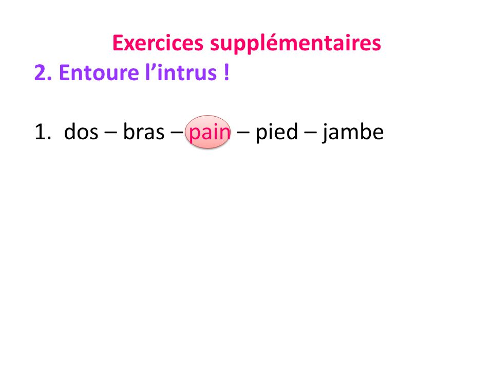 Exercices supplémentaires 2. Entoure lintrus ! 1. dos – bras – pain – pied – jambe